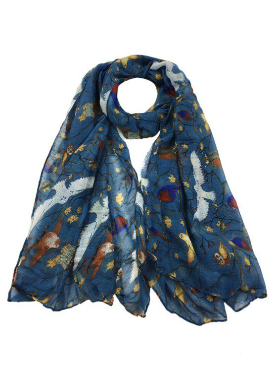 affordable Soft Birds Pattern Embellished Sheer Long Scarf - APPLE SLICE