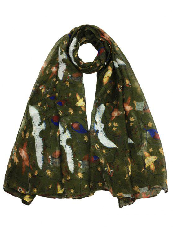 Morbido modello Birds Birds abbellito Sheer Long Scarf - Verde Dell'esercito