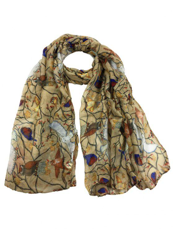 Morbido modello Birds Birds abbellito Sheer Long Scarf - Beige