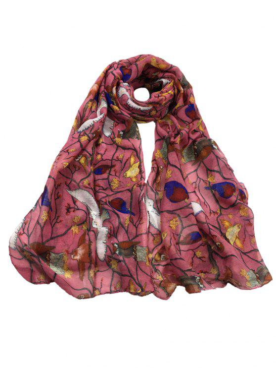 best Soft Birds Pattern Embellished Sheer Long Scarf - PEONY PINK