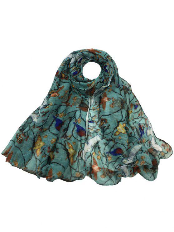 Sciarpa Lunga Velata Morbida Abbellita Con Motivo A Uccelli - luce azzurro