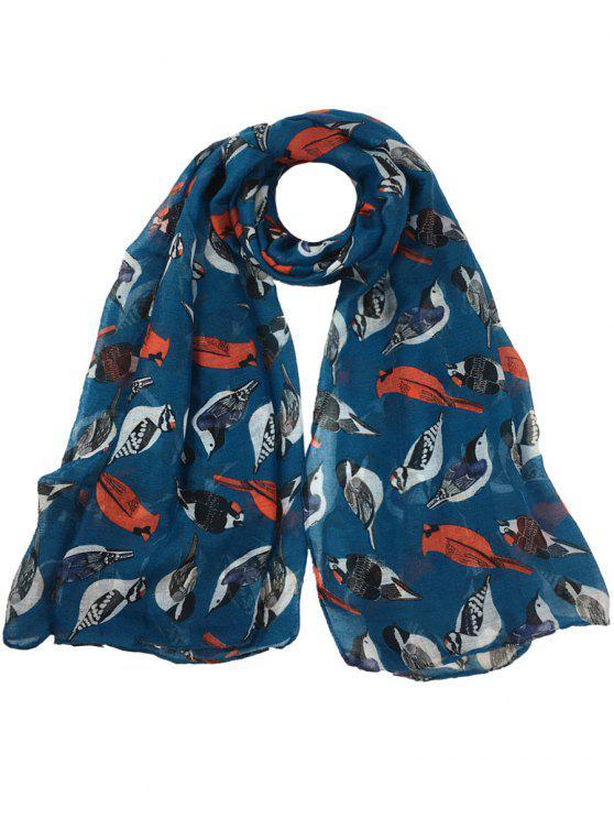 Sciarpa Lunga Velata Abbellita Con Motivo A Uccelli Volanti - azzuro