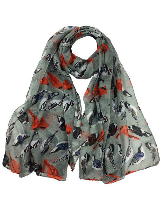 outfits Flying Birds Pattern Decorated Sheer Long Scarf - GRAY
