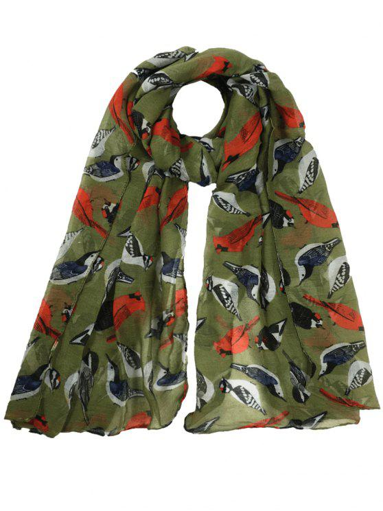 shop Flying Birds Pattern Decorated Sheer Long Scarf - ARMY GREEN
