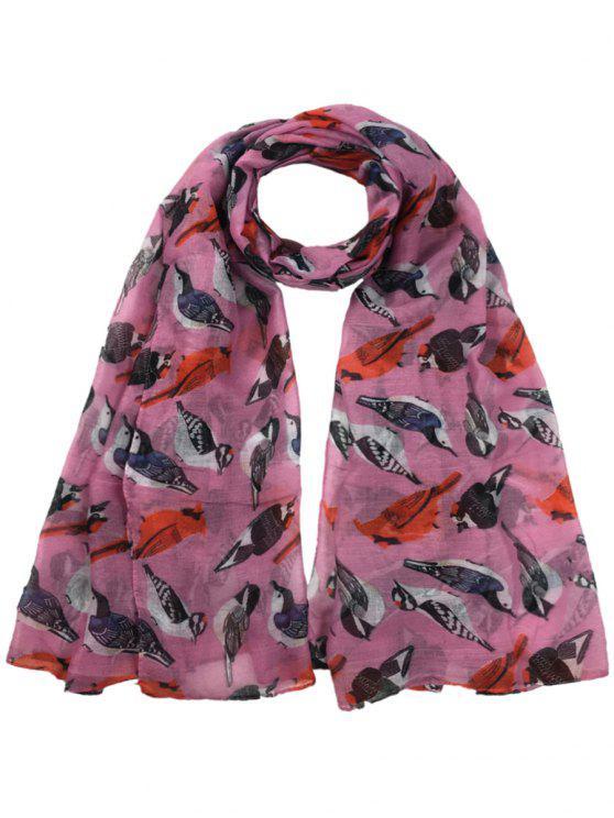 Sciarpa Lunga Velata Abbellita Con Motivo A Uccelli Volanti - Peonia Rosa