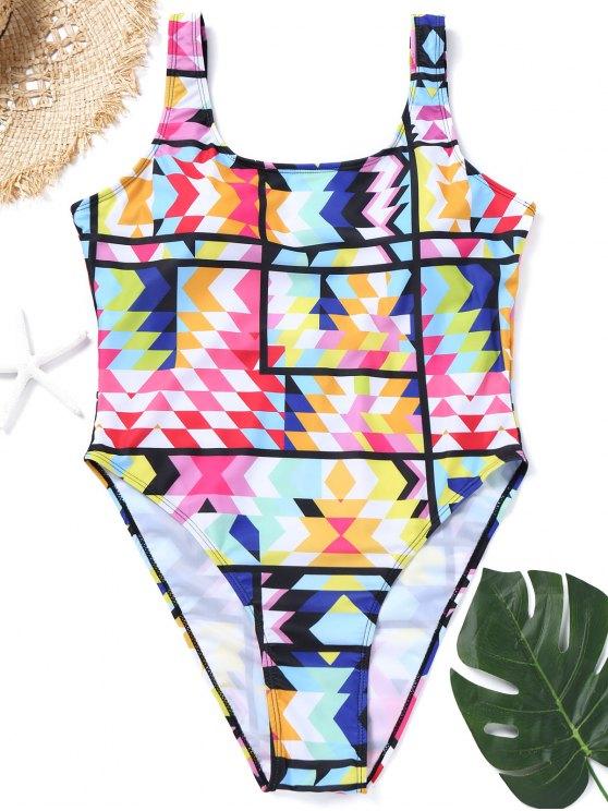 Plus Size Colorful High Cut Swimsuit - Cor Mistura 3XL