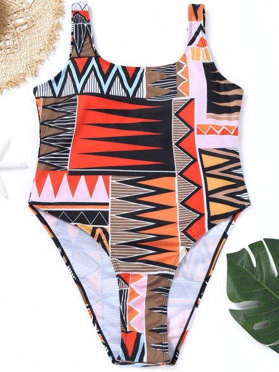 lady Print Plus Geometrical Size High Cut Swimsuit - COLORMIX 2XL