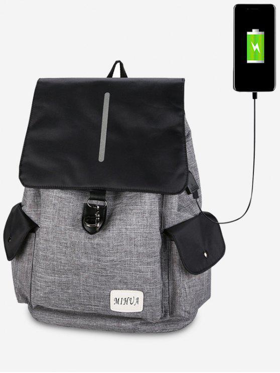 Sac à dos à port de recharge USB à poches rayées - Gris Clair