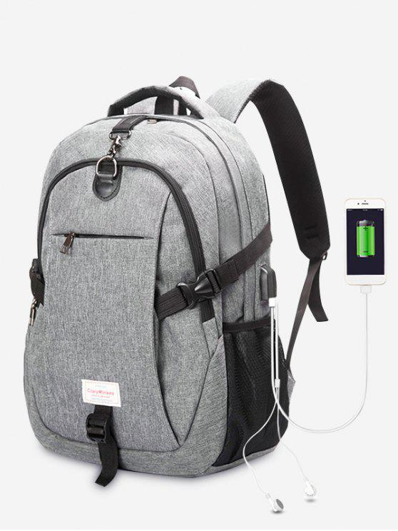 new Headphone Jack USB Charging Port Backpack - GRAY