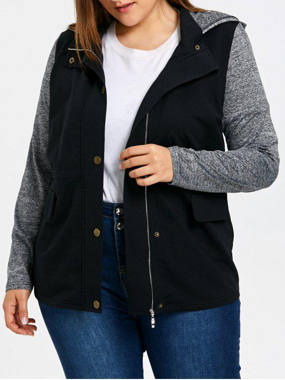 latest Plus Size Back Drawstring Hooded Jacket - GRAY XL