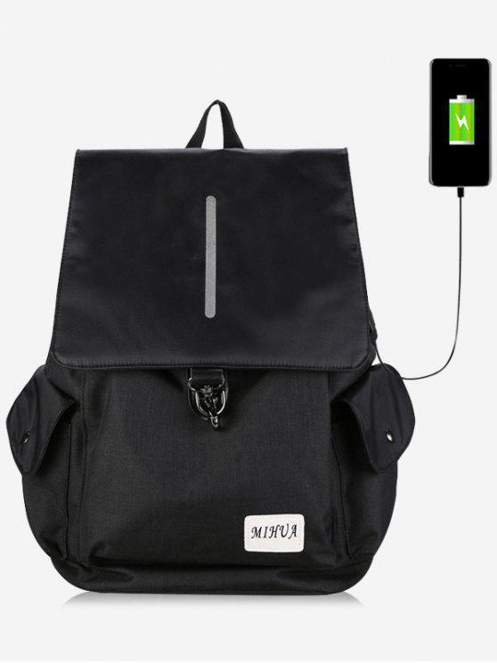 shops Striped Side Pockets USB Charging Port Backpack - BLACK