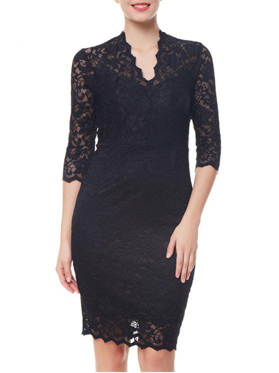 فستان غارق الرقبة دانتيل - أسود 2XL