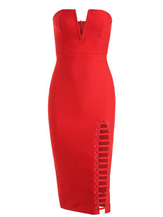unique Back Slit Cut Out Strapless Bandage Dress - RED S