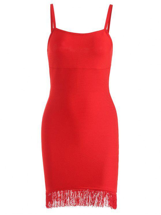 hot Fringed Cami Bandage Dress - RED M