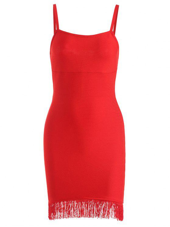 outfit Fringed Cami Bandage Dress - RED L