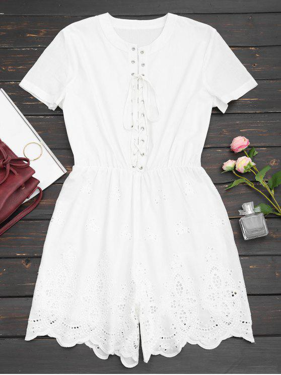 Lace Up Hollow Out Romper - Branco S