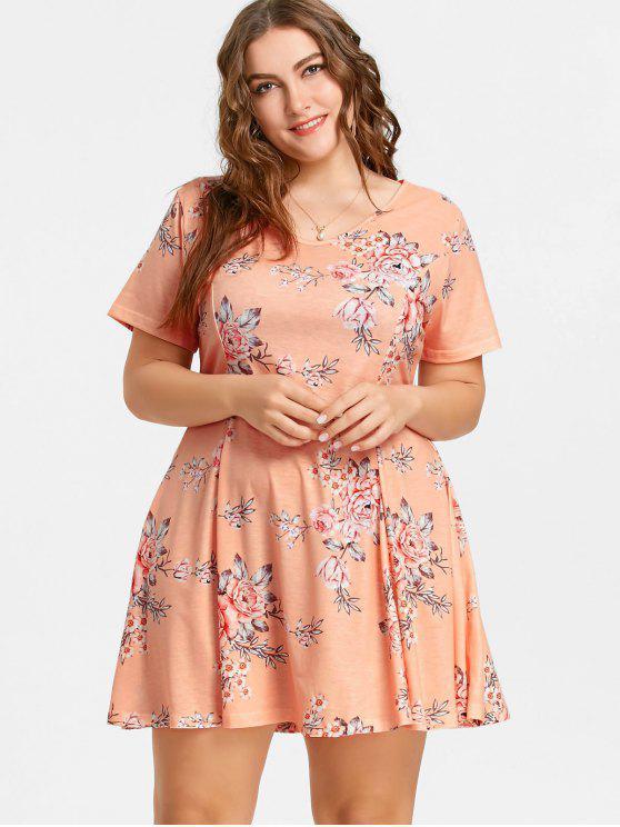 40c9e1cab 41% OFF] 2019 Vestido Rodado Plus Size Floral Com Rosa De Laranja ...