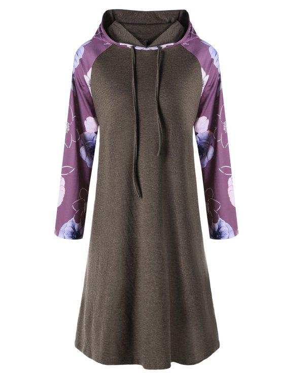 فستان بقلنسوة وأكمام مزينة بطبعة أزهار ذو مقاس كبير - كاكي 5XL