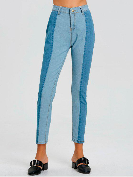 buy Color Block Skinny Striped Jeans - BLUE XL