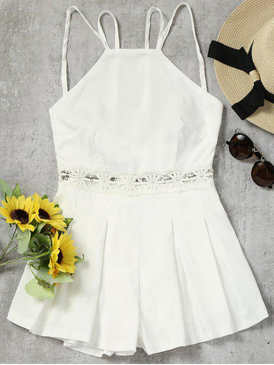 Lace Panel Backless Cami Romper - Branco XL