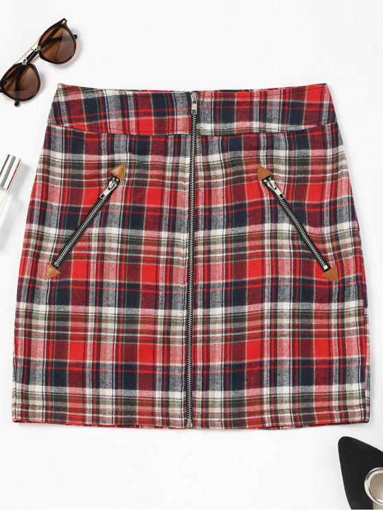 affordable Zip Up Front Checked Skirt - DEEP RED L