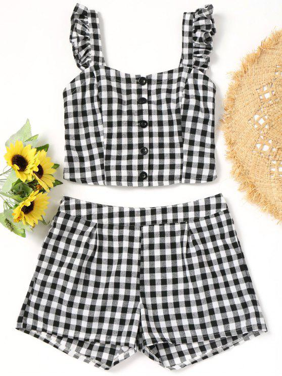 online Smocked Ruffles Plaid Top And Shorts - CHECKED L