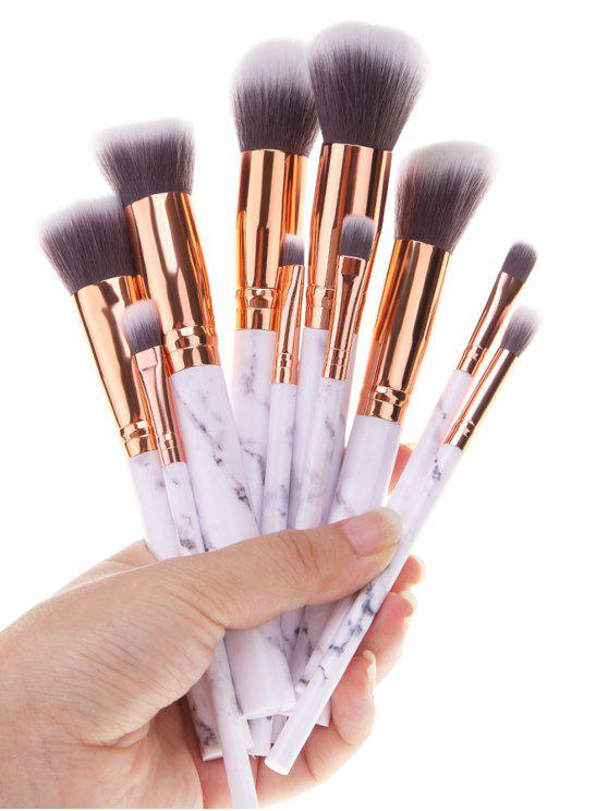 hot 10Pcs Marble Printed Handle Makeup Brushes Set - WHITE