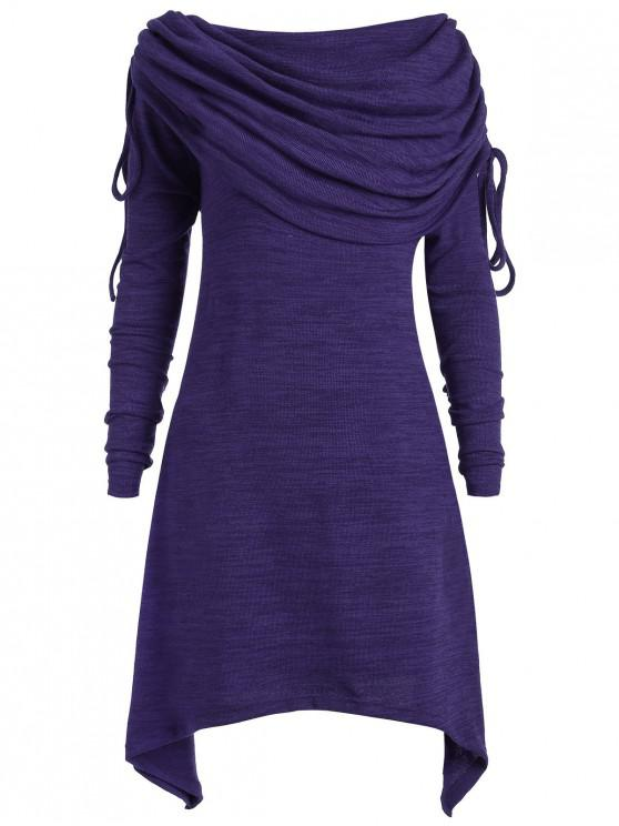 trendy Long Foldover Collar Plus Size Ruched Top - PURPLE 2X
