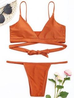 Glänzendes Wickel-Bikini-Set - Ziegelrot M