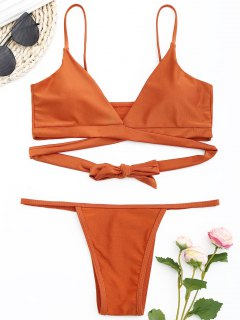 Glänzendes Wickel-Bikini-Set - Ziegelrot S