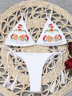 Bestickter Bikini BH Mit String String Bottoms - Weiß S