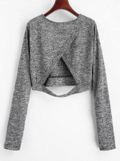 Cut Heathered Crop Tee - Meliert Grau Xl