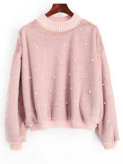 Beading Shearling Sweatshirt - Light Pink S