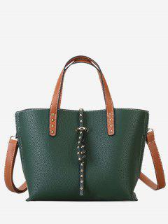 Studs Double Handles Handbag - Green
