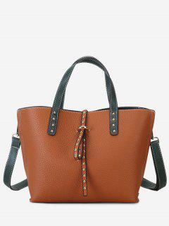 Studs Double Handles Handbag - Light Brown