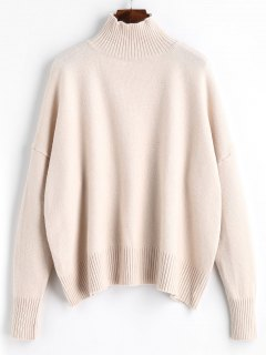 Ribbed Panel High Neck Sweater - Apricot