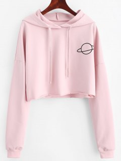 Planet Graphic Crop Hoodie - Papaya S