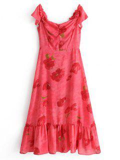 Robe Maxi Florale Volantée à Épaules Dénudées - Rose De Pêches S