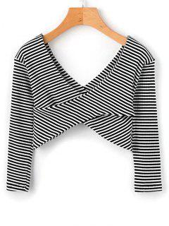 Crossed Front Stripes Cropped Top - Stripe L