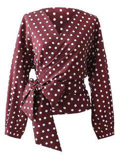 Polka Dot Wrap Bluse - Magenta L
