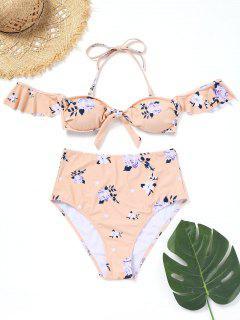 Floral Rüschen Hoch Taillierte Bikini - Pinkbeige S