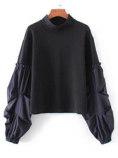 Lantern Sleeve Stripes Panel Sweatshirt - Black L