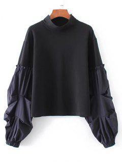 Sweat-shirt à Manches Lanternes Rayées - Noir S
