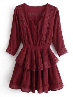 Ruffles Lacee Trim Mini Dress - Wine Red M