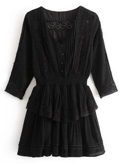 Ruffles Lacee Trim Mini Dress - Black M