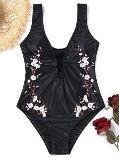 Plunge Plum Blossom Lace Up Swimsuit - Black L