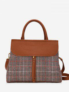 Plaid Color Blocking Handbag - Deep Brown