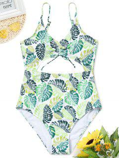 Cut Out Palm Leaf One-piece Swimsuit - S
