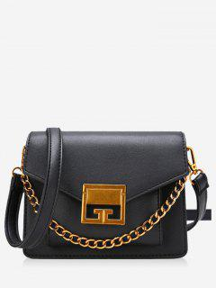 Metal Chain Faux Leather Crossbody Bag - Black