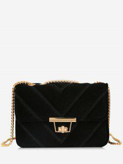 Stitching Quilted Chain Crossbody Bag - Black